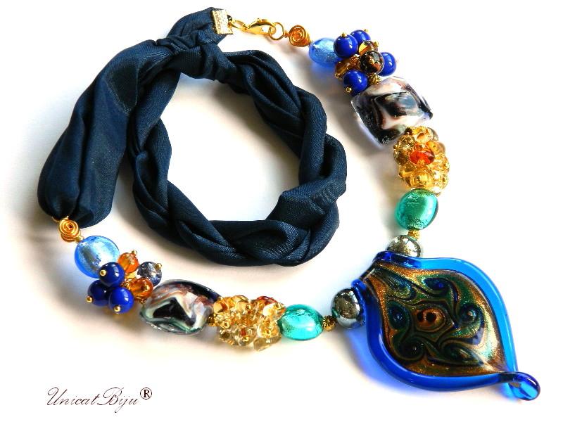 colier perle murano, bijuterii matase naturala, foita aur argint, bleumarine, unicatbiju