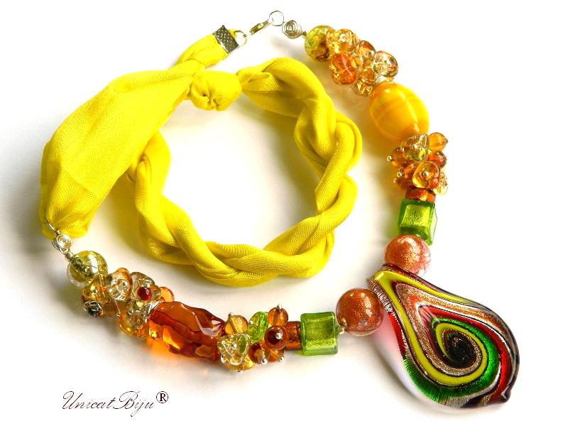 colier perle murano, bijuterii matase naturala, foita aur argint, galben, unicatbiju
