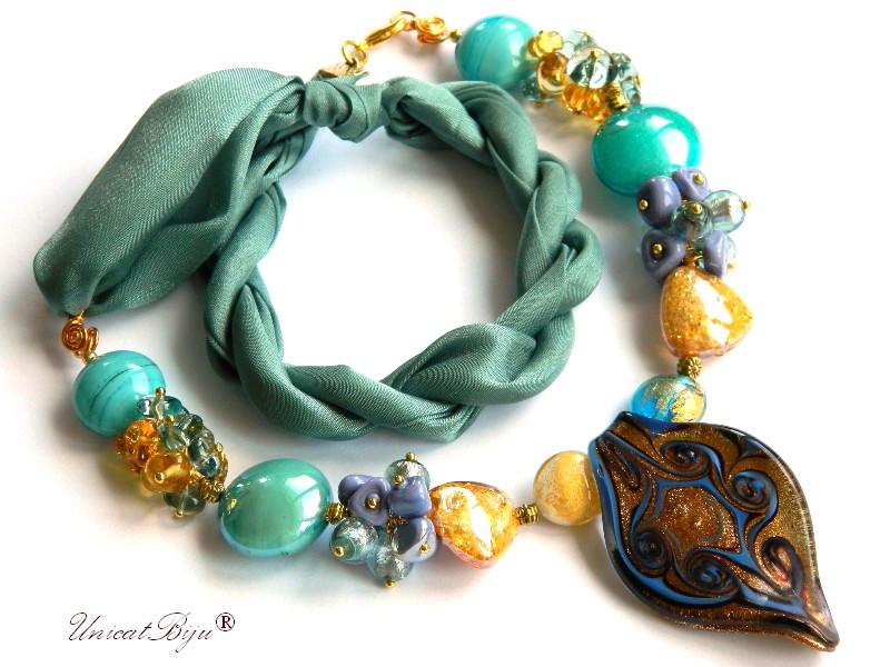 colier perle murano, bijuterii matase naturala, foita aur argint, turcoaz aurit, unicatbiju