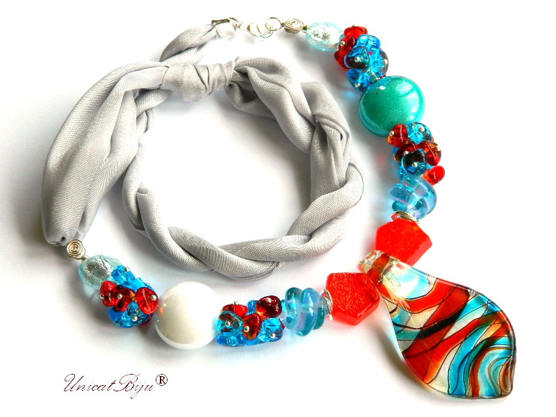 colier perle murano, bijuterii matase naturala, foita aur argint, turcoaz, coraline, unicatbiju