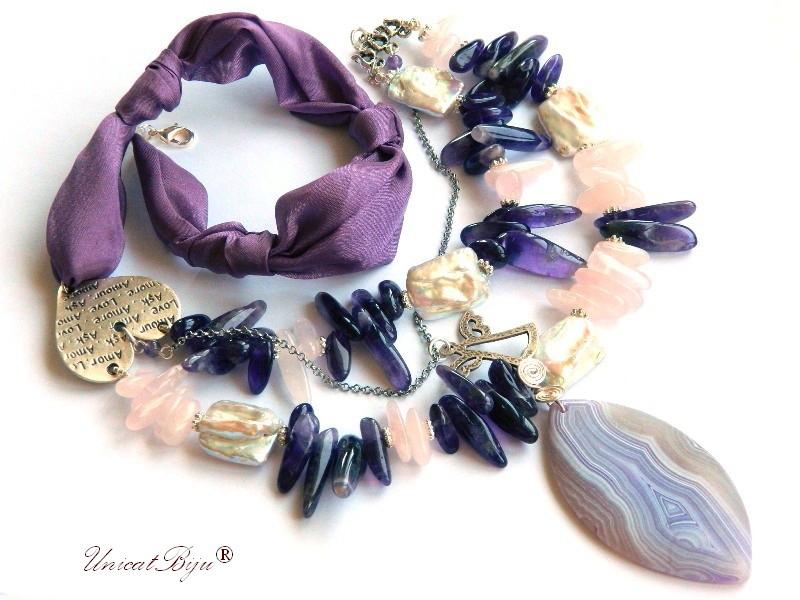 colier statement, bijuterii matase naturala, semipretioase, ametist, cuart roz, agat frosted, perle keishi, unicatbiju