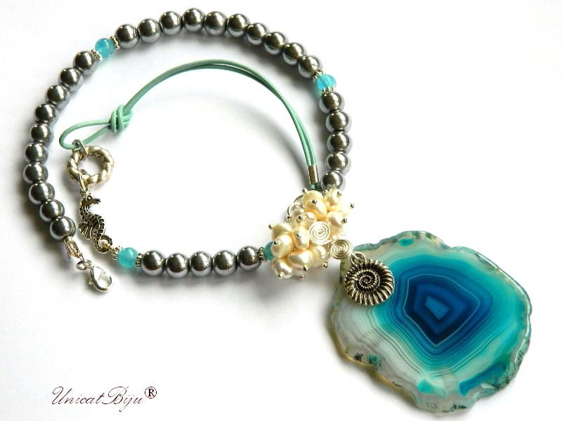 colier statement, bijuterii semipretioase unicat, hematit argintat, perle cultura, sidef natural, calut de mare, unicatbiju