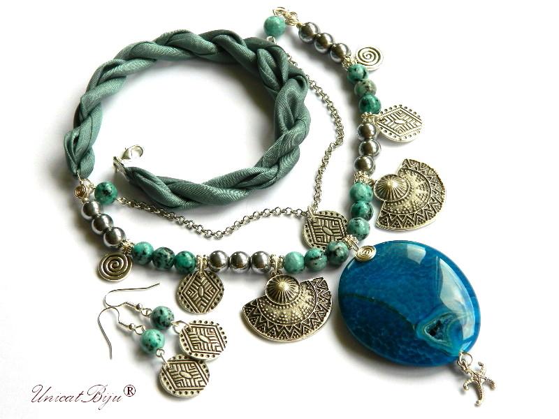 colier statement, salba argintata, bijuterii matase naturala, semipretioase, agat, jad, hematit argintat, unicatbiju, steluta de mare