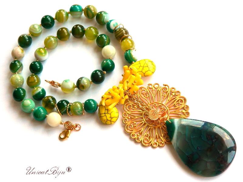 colier agat verde, pandantiv agat moss, bijuterii semipretioase unicat, floare aurita, coral galben, unicatbiju
