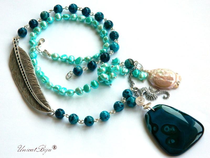 colier extra lung, statement, bijuterii semipretioase unicat, perle turcoaz, jasp, perle keishi, calut de mare argintat, unicatbiju