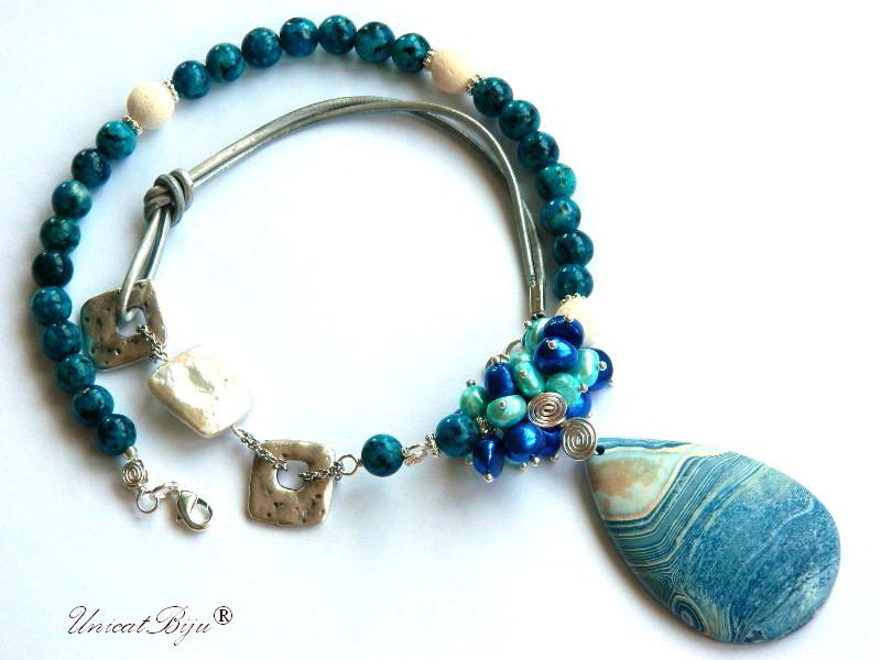 colier jasp albastru, perle keishi, perle albastre, agat mat, unicatbiju, bijuterii semipretioase unicat