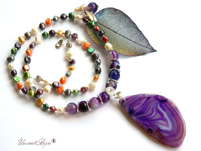 colier lung, perle cultura multicolore, bijuterii semipretioase unicat, pandantiv agat geoda, frunza filigran, unicatbiju