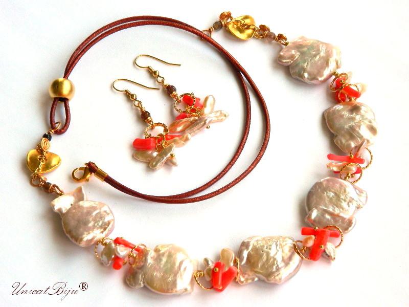 colier statement, bijuterii semipretioase unicat, perle keishi, coral, aurit, unicatbiju, perle masive