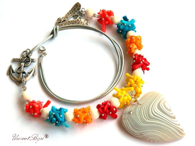 colier statement, coral multicolor, pandantiv inima agat mat, ancora argintata, unicatbiju, bijuterii semipretioase