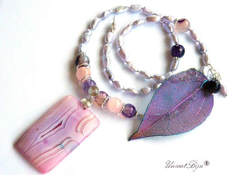 colier statement, pandantiv agat mat, cuart roz, ametist, perle mov, bijuterii semipretioase, unicatbiju