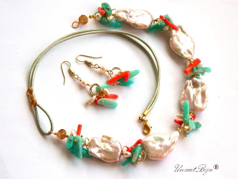 colier statement, perle keishi, bijuterii semipretioase unicat, amazonit, coral, aurit, perle mari, unicatbiju