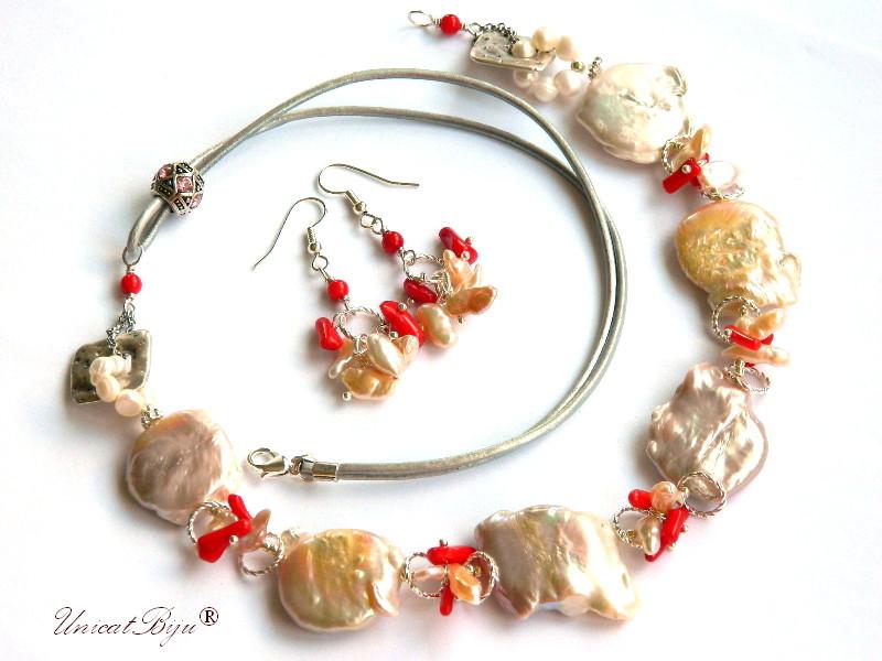 colier statement, perle keishi, sidef natural, coral rosu, bijuterii semipretioase unicat, argintat, unicatbiju, piele naturala