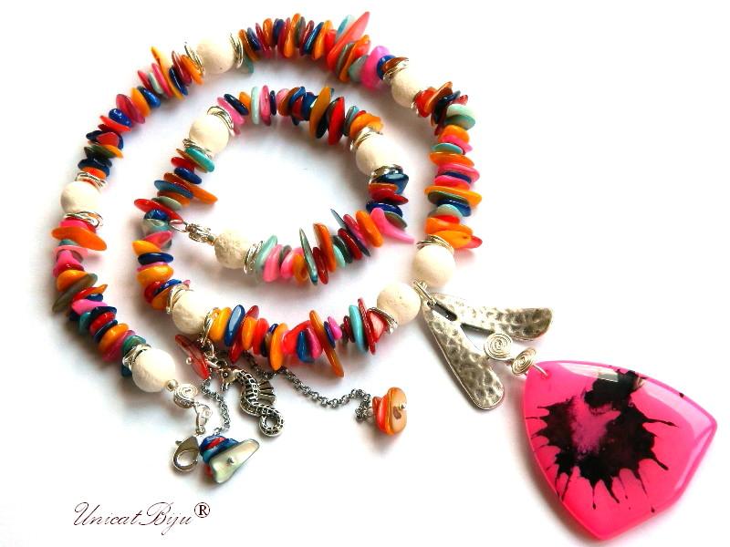 colier vara, bijuterii semipretioase unicat, sidef multicolor, lava alb, agat fuchsia, calut de mare argintat, unicatbiju