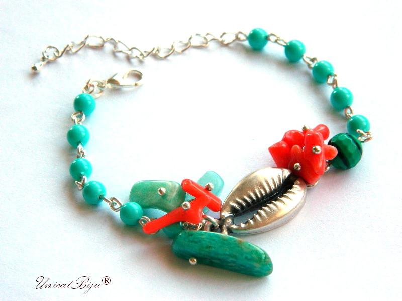 bratara perle mallorca, semipretioase, amazonit, coral orange, scoica argintata, unicatbiju