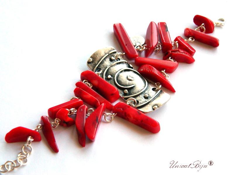bratara statement, coral rosu, accesorii argintate masive, semipretioase, unicatbiju