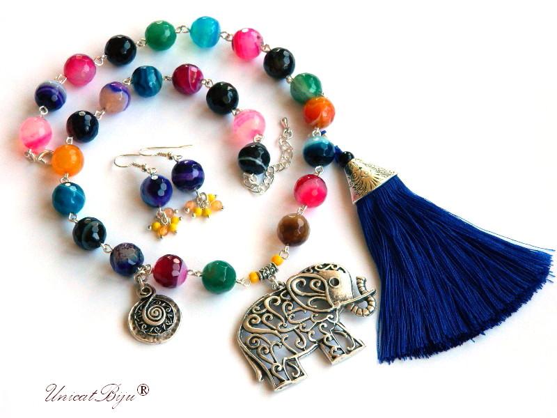 colier agat masiv, bijuterii semipretioase, elefant feng shui argintat, ciucure matase naturala, unicatbiju