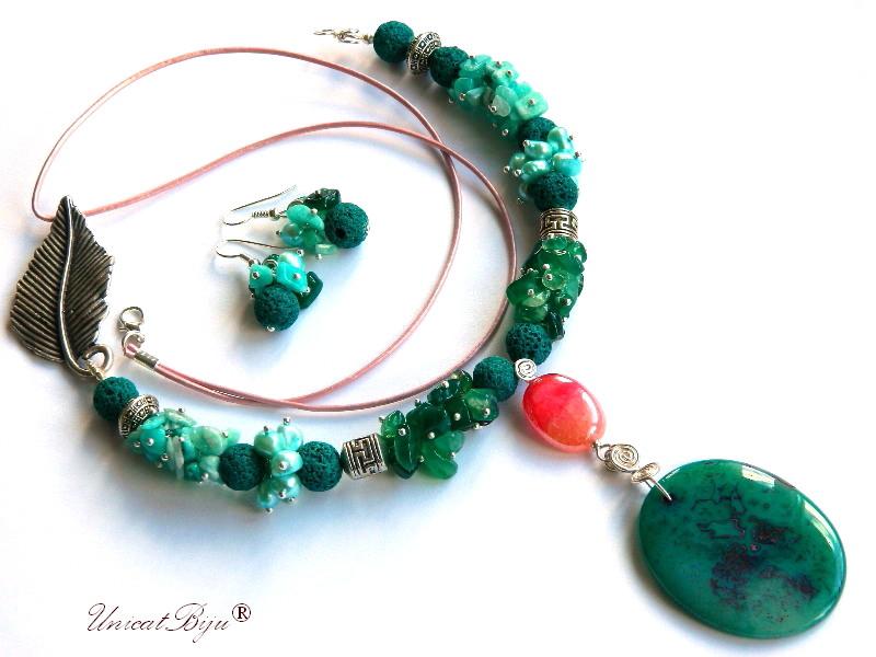 colier aventurin, bijuterii semipretioase unicat, agat rubin zoisite, frunza argintata, perle verzi, amazonit, unicatbiju