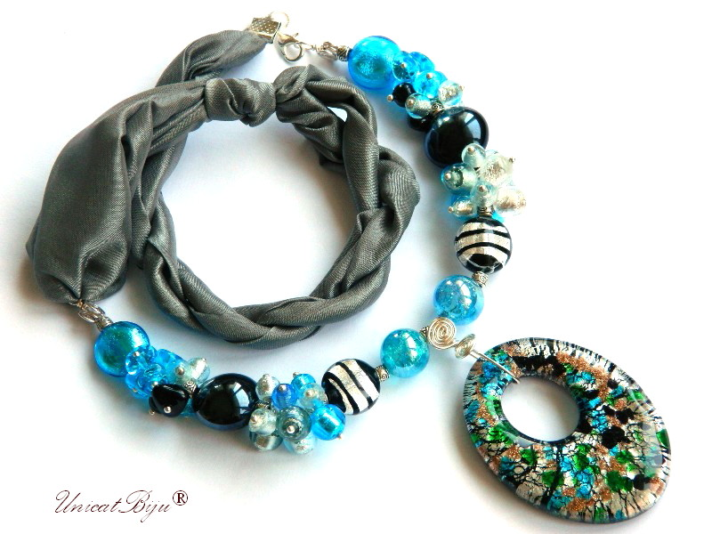 colier perle murano, bijuterii matase naturala, statement, foita argint, gri bleu, unicatbiju