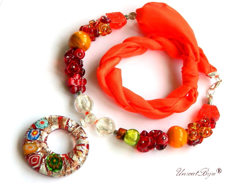 colier perle murano, bijuterii matase naturala, statement, foita argint, orange, unicatbiju