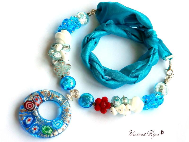 colier perle murano, bijuterii matase naturala, statement, foita argint, rosu, bleu, unicatbiju