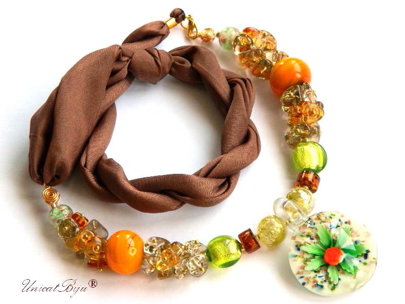 colier perle murano, bijuterii matase naturala, statement, foita aur, orange, smarald, unicatbiju