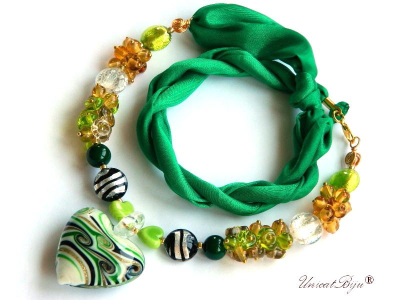 colier perle murano, bijuterii matase naturala, statement, foita aur, verde, unicatbiju