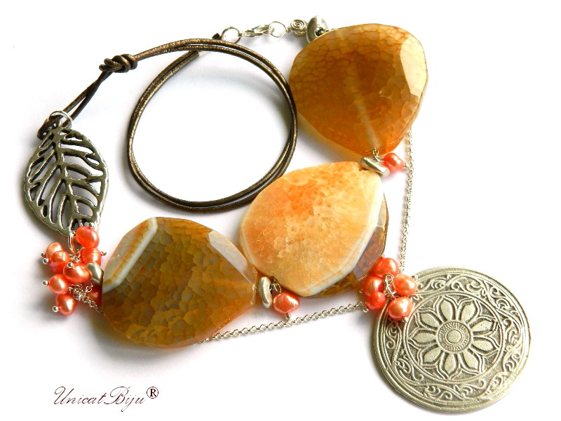 colier statement, agat masiv ambra, bijuterii semipretioase unicat, perle, sidef natural, frunza argintata, unicatbiju