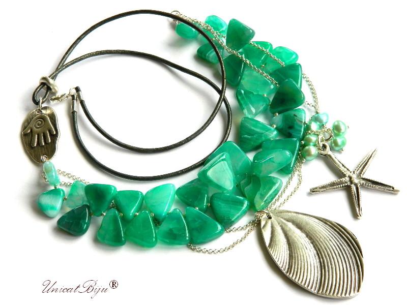 colier statement, agat turcoaz, verde, stea de mare argintata, bijuterii semipretioase unicat, perle, scoica argintata, unicatbiju