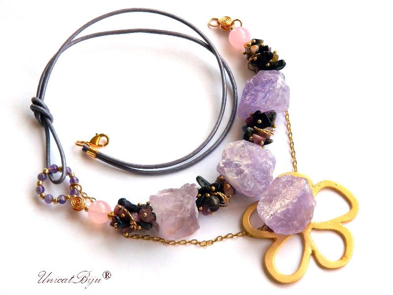 colier statement, ametist brut, turmalina, floare aurita, bijuterii semipretioase unicat, jad roz, unicatbiju