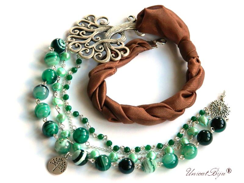 colier statement, bijuterii semipretioase, matase naturala, agat moss, smarald radacina, copacul vietii argintat, perle cultura, unicatbiju
