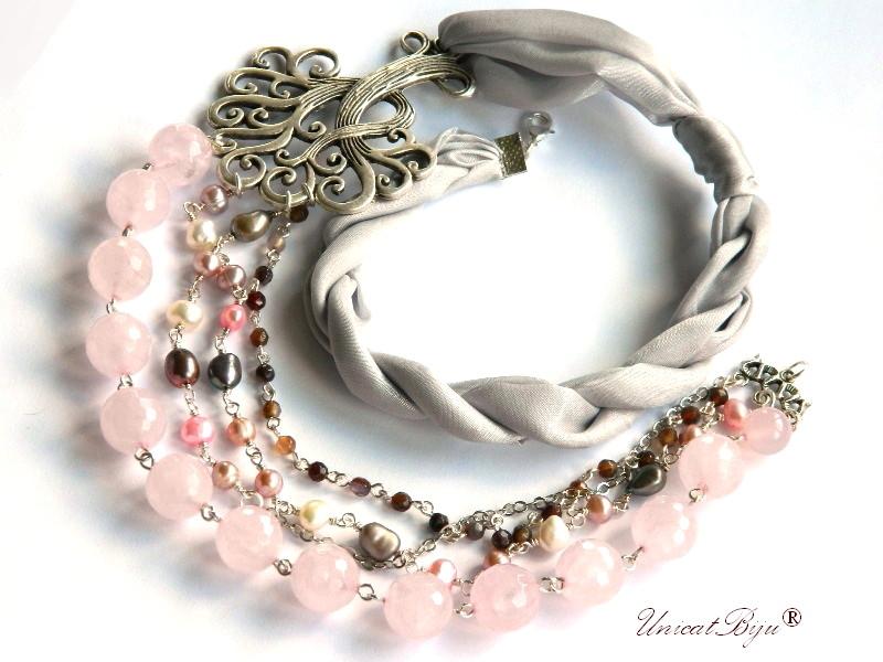 colier statement, bijuterii semipretioase, matase naturala, cuart roz masiv, agat, copacul vietii argintat, perle cultura, unicatbiju