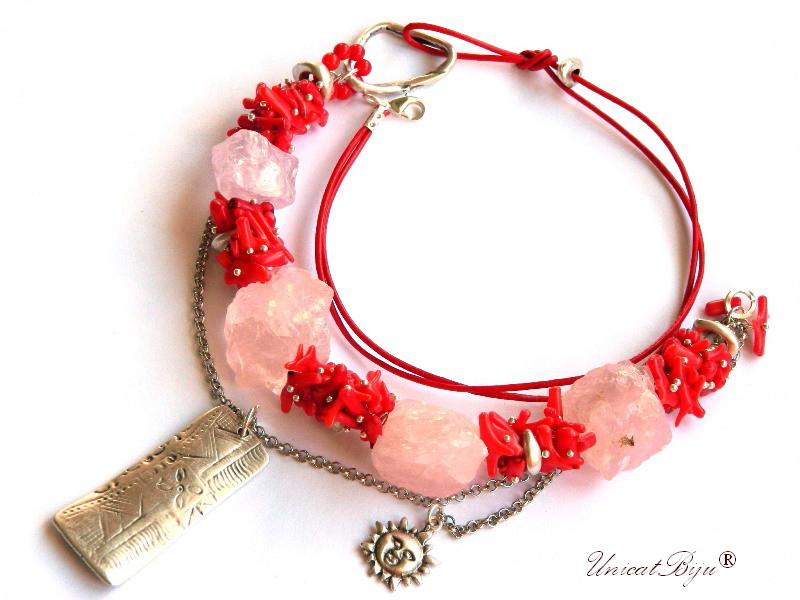 colier statement, cuart roz brut, coral rosu, bijuterii semipretioase unicat, soare argintat, unicatbiju
