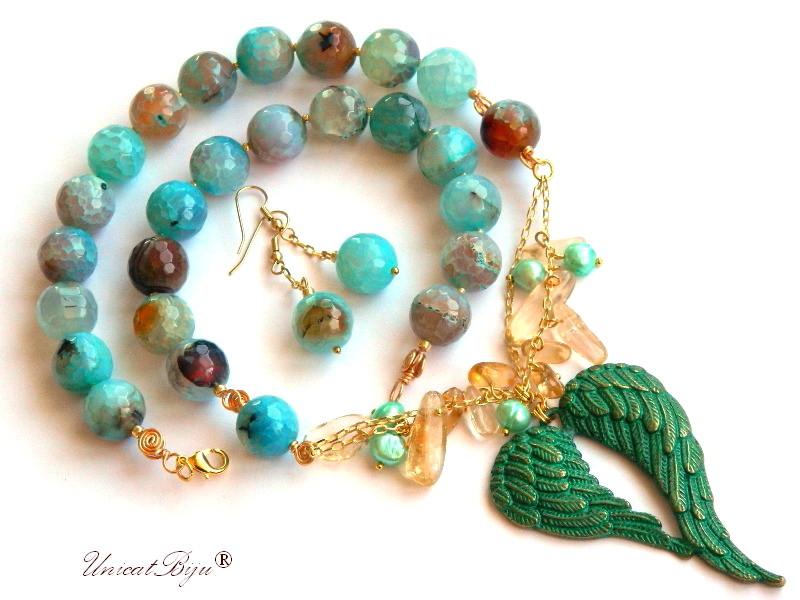 colier agat amazonit, bijuterii semipretioase unicat, citrin, perle cultura, inima verdigris, unicatbiju