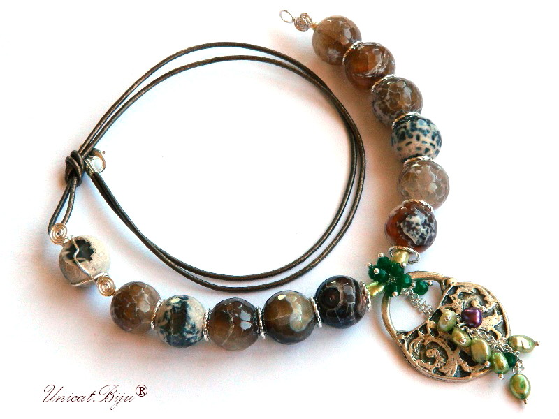 colier agat masiv, amonit, lacat argintat, perle verzi, bijuterii semipretioase unicat, jad verde, unicatbiju