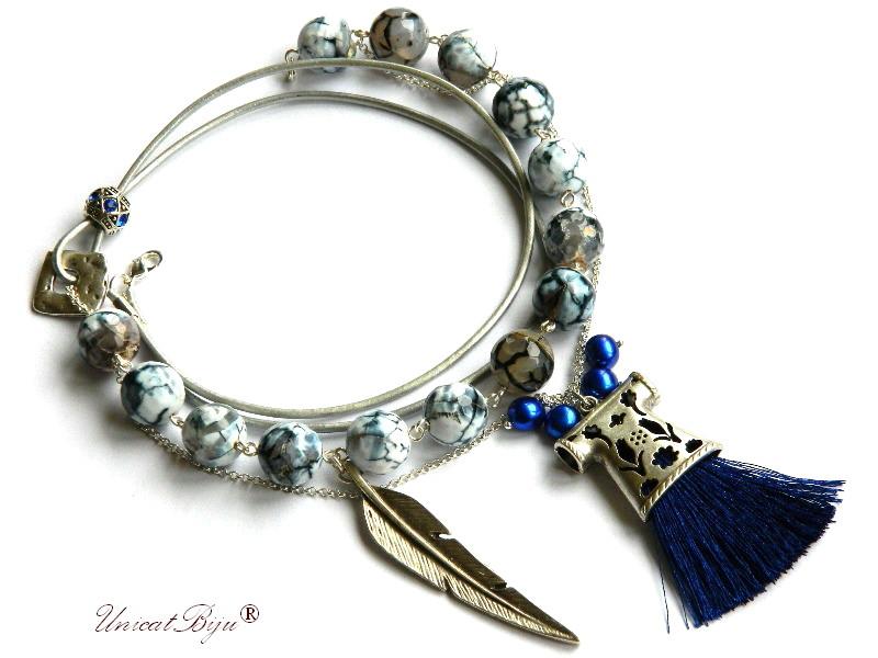 colier agat masiv, perle cultura albastre, bijuterii semipretioase unicat, kaftan argintat, unicatbiju