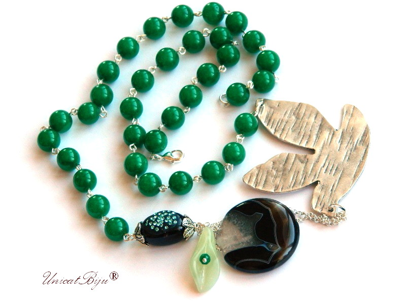 colier jad verde, bijuterii semipretioase unicat, statement, agat botswana, argintat masiv, unicatbiju