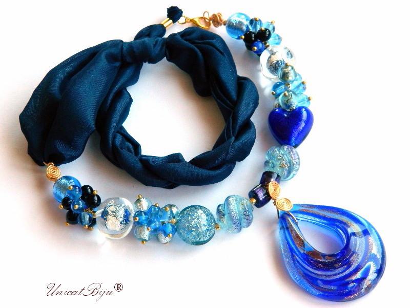 colier perle murano, bijuterii matase naturala, albastru, perle foita aur, unicatbiju, statement