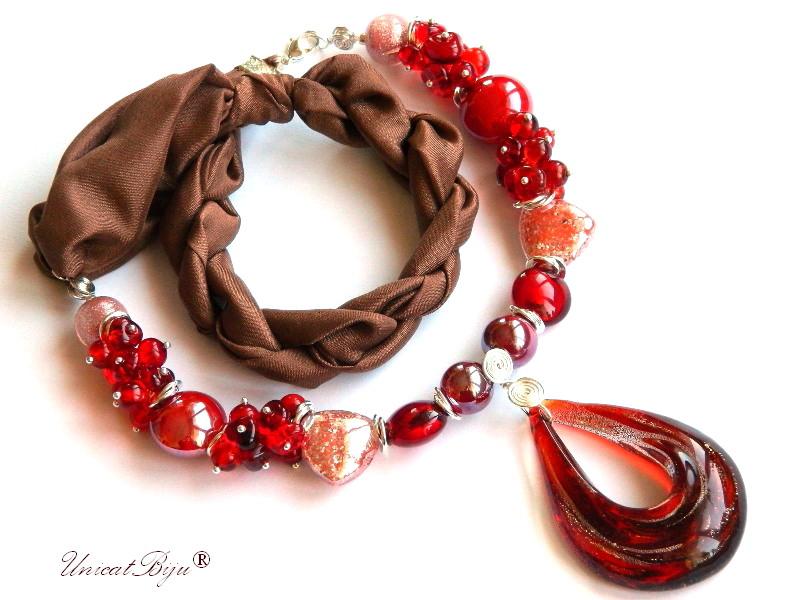 colier perle murano, bijuterii matase naturala, rosu, perle foita argint, unicatbiju, statement
