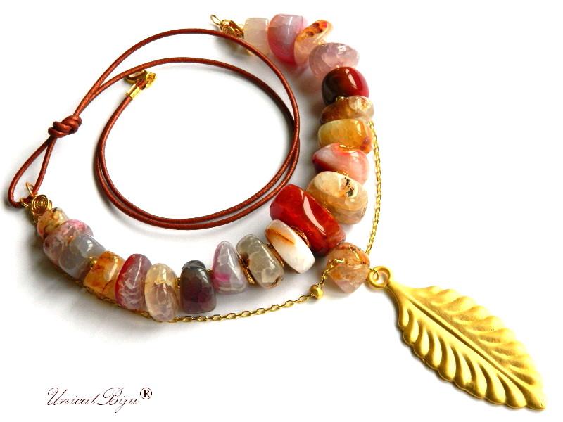 colier statement, agat brut masiv, bijuterii semipretioase unicat, frunza aurita, piele naturala, unicatbiju
