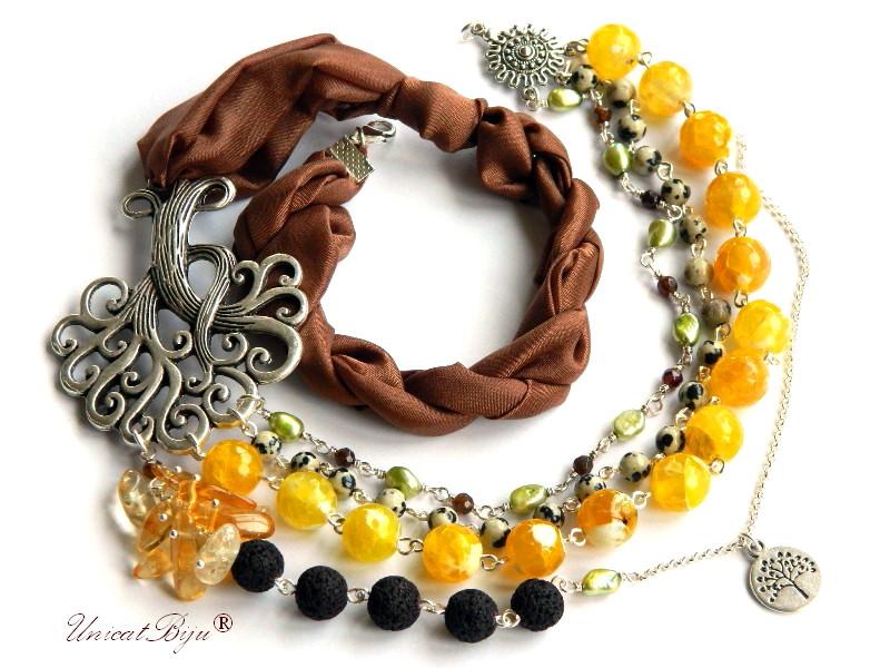 colier statement, agat galben, bijuterii semipretioase unicat, jasp dalmatian, perle verzi, citrin, matase naturala, unicatbiju