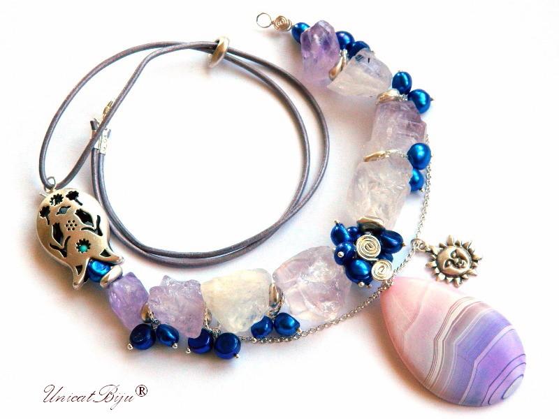 colier statement, bijuterii semipretioase unicat, ametist brut, perle cultura albastre, agat mat, soare argintat, unicatbiju