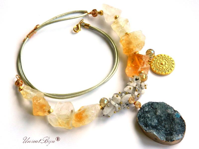 colier statement, bijuterii semipretioase unicat, citrin brut, agat druzy, cristal, unicatbiju