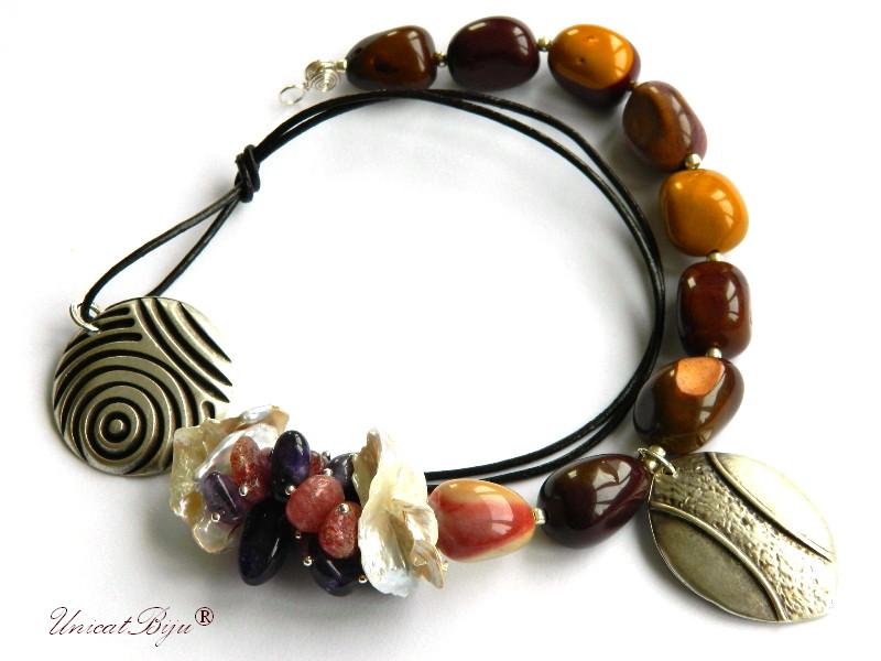 colier agat masiv, salba argintata, perle keishi, cuart cherry, ametist, bijuterii semipretioase, unicatbiju