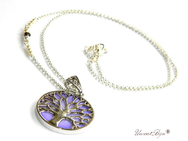 colier copacul vietii, inox, sidef natural, mov, bijuterii semipretioase, perle swarovski, cristale, unicatbjiu, lantisor argintat