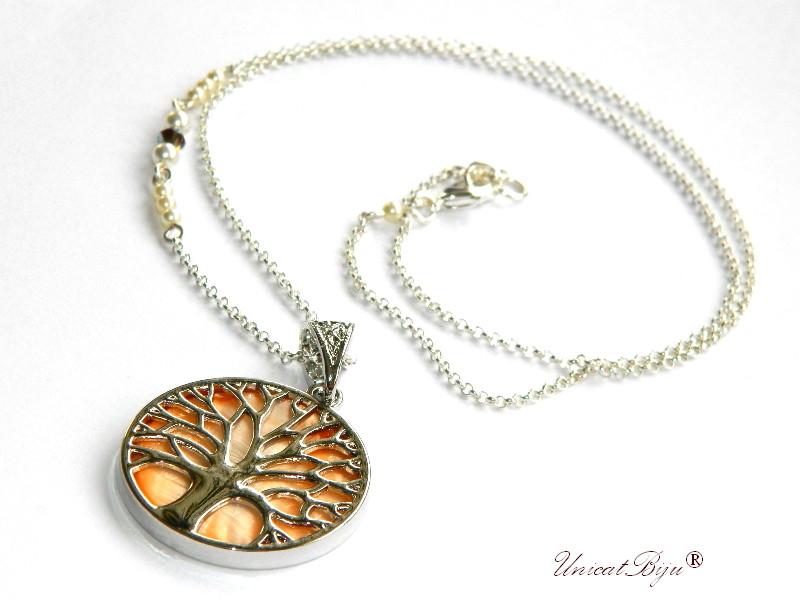 colier copacul vietii, inox, sidef natural, orange, bijuterii semipretioase, perle swarovski, cristale, unicatbjiu, lantisor argintat