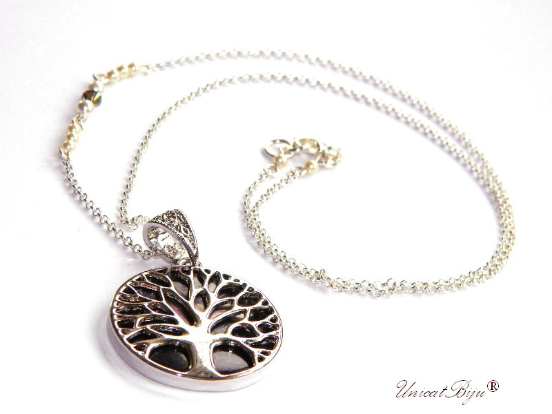 colier copacul vietii, inox, sidef natural, paua shell, bijuterii semipretioase, perle swarovski, cristale, unicatbjiu, lantisor argintat