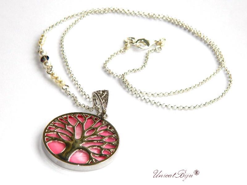 colier copacul vietii, inox, sidef natural, roz, bijuterii semipretioase, perle swarovski, cristale, unicatbjiu, lantisor argintat