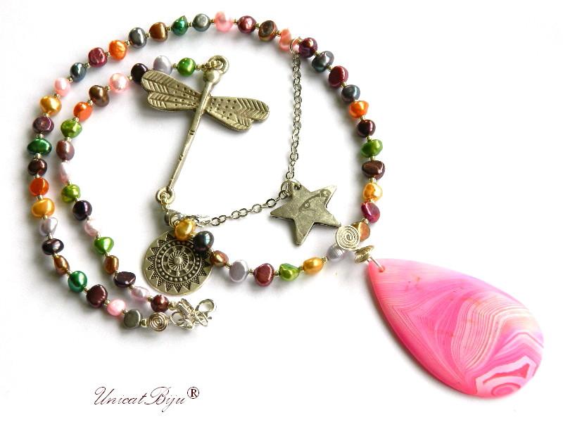 colier extra lung, perle multicolore, bijuterii semipretioase unicat, agat roz mat, stea argintata, libelula, unicatbiju