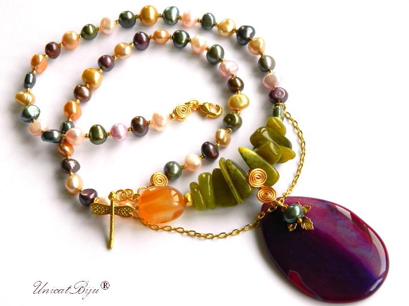 colier perle multicolore, bijuterii semipretioase unicat, jad olivine, agat mov, libelula aurita, carneol, unicatbiju