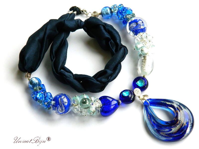 colier perle murano, bijuterii matase naturala, perle foita argint, albastru cobalt, unicatbiju